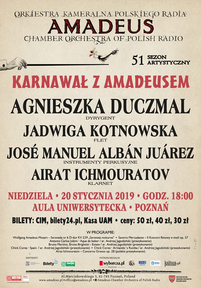 "Airat Ichmouratov will appear as soloist in his own Concerto Grosso N1 under baton of Maestra Agnieszka Duczmal with ""Amadeus"" Chamber orchestra of Polish Radio on January 20, 2019 in Poznan, Poland."